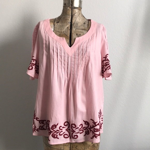 9424a5da14d Ella Moon Tops - Ella Moon Embroidered Pin Tuck Peasant Boho Top